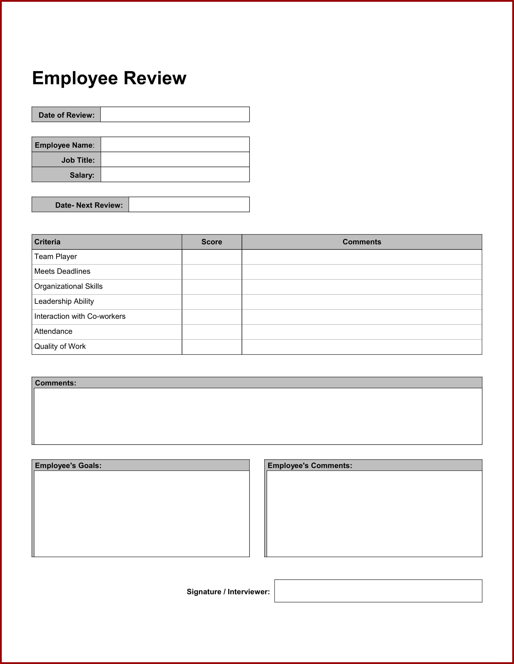 Free Employee Evaluation Form Template Pdf