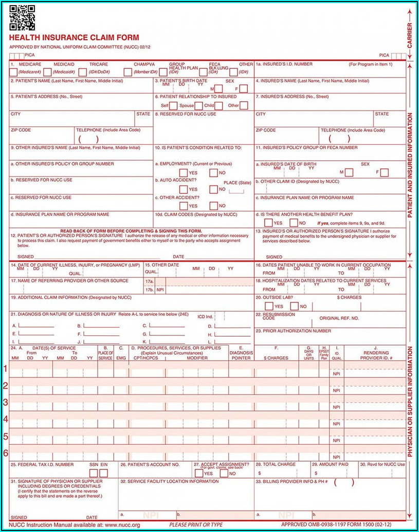 Free Fillable Cms 1500 Form 0212