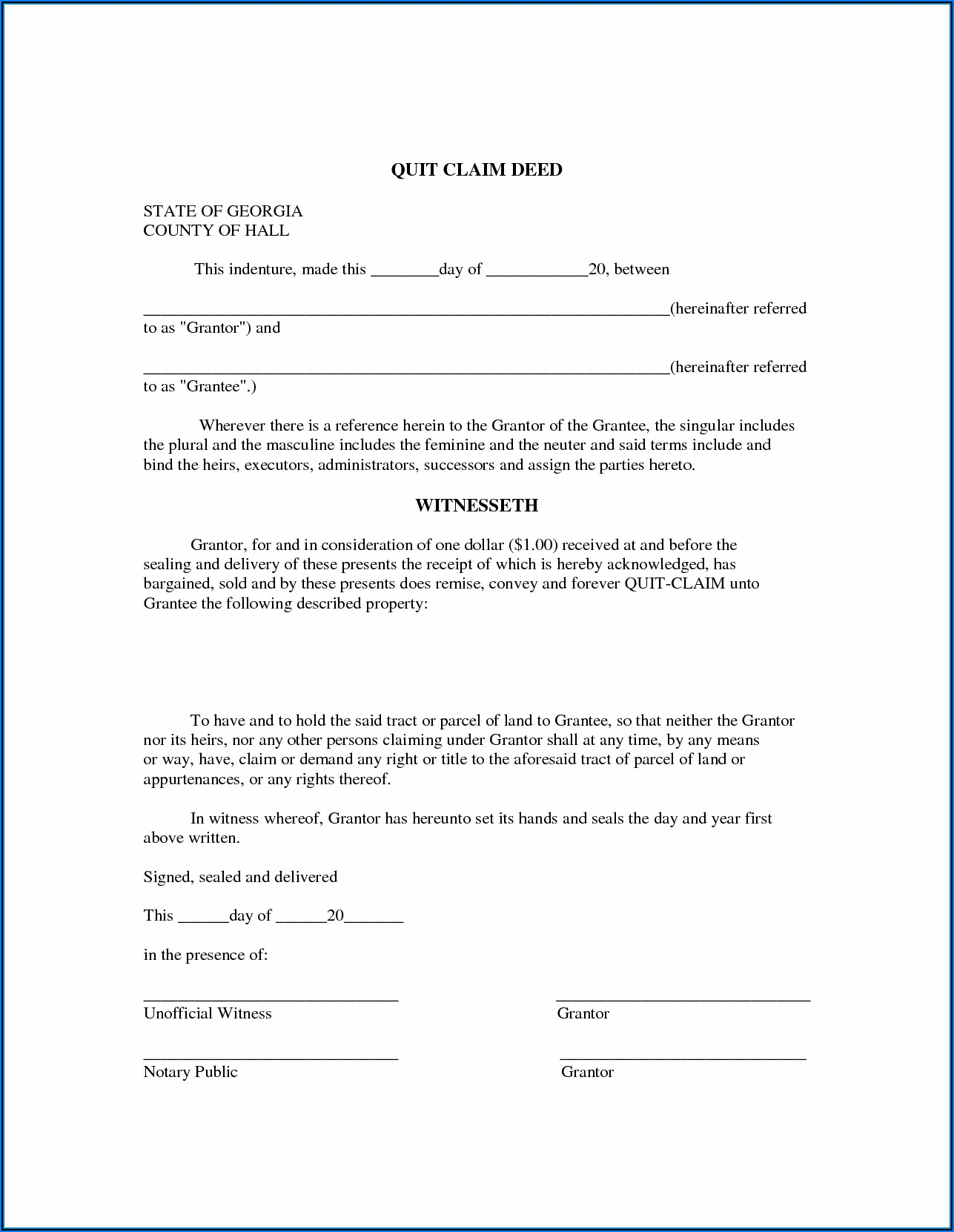 Free Ga Quit Claim Deed Form