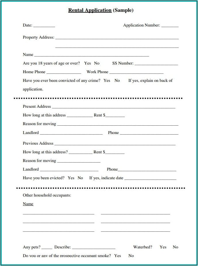 Free House Rental Application Form Pdf