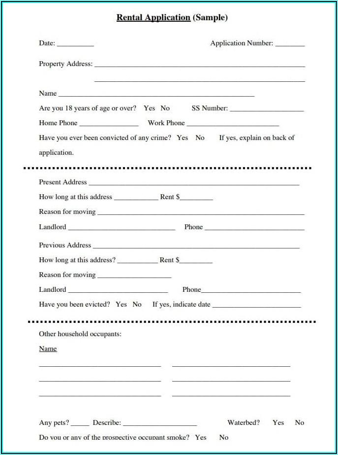 Free House Rental Application Form Pdf