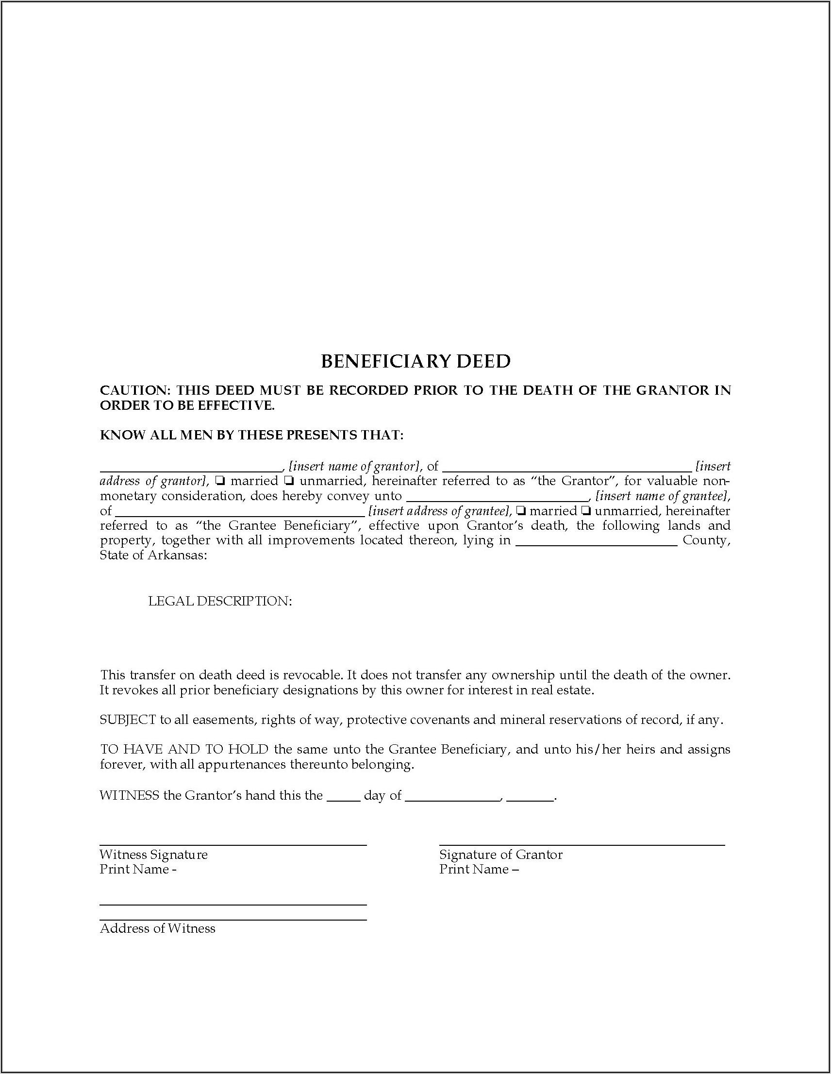 Free Oregon Transfer On Death Deed Form