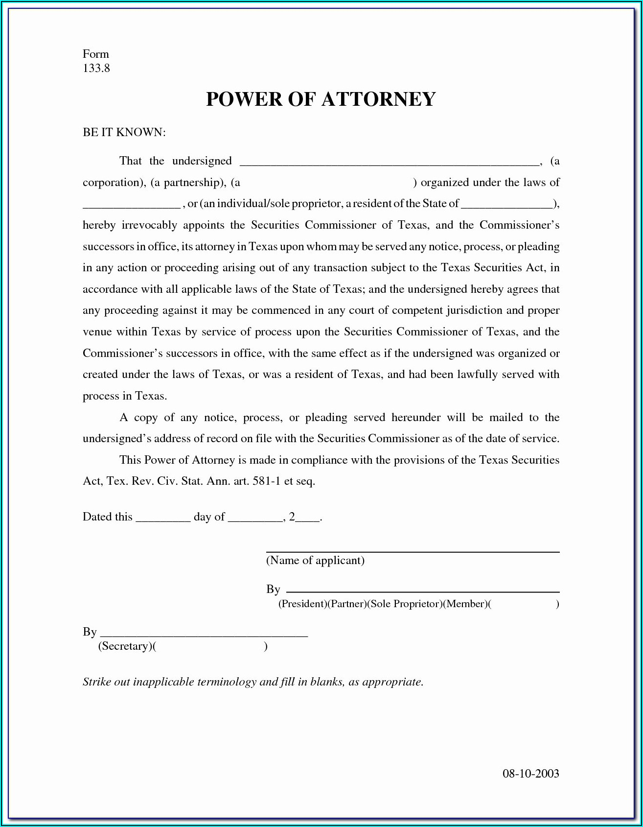 Free Power Of Attorney Form Mn