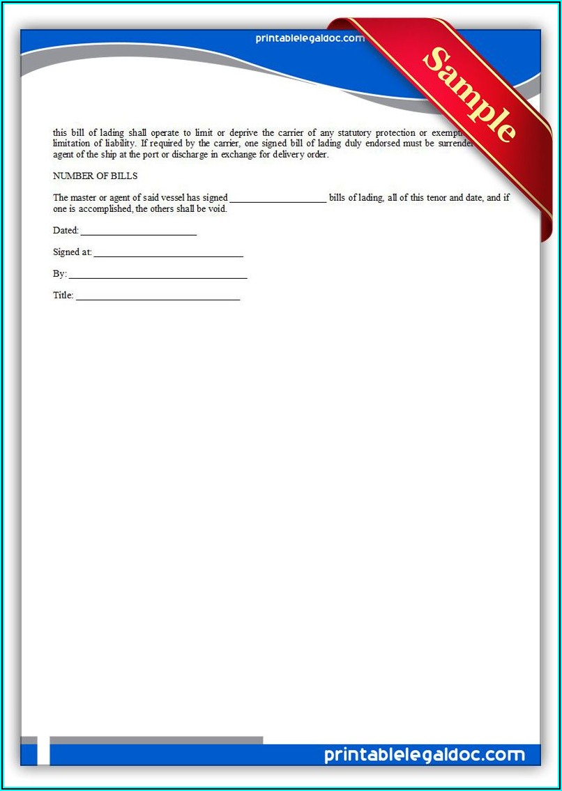 Free Printable Bill Of Lading Forms