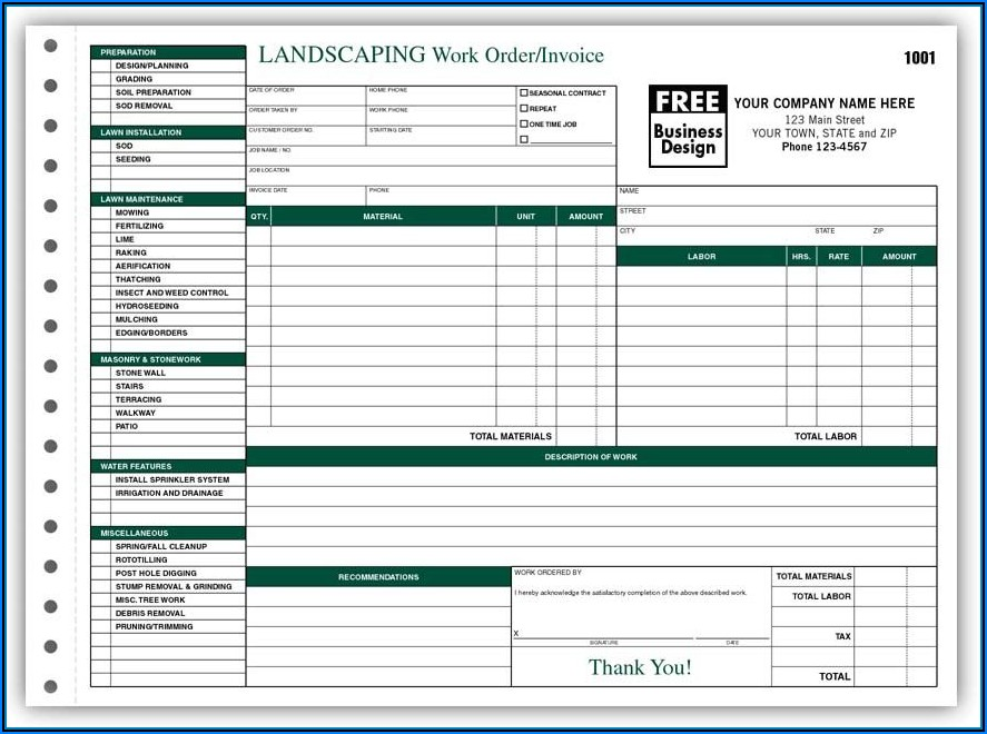 Free Printable Landscape Estimate Forms