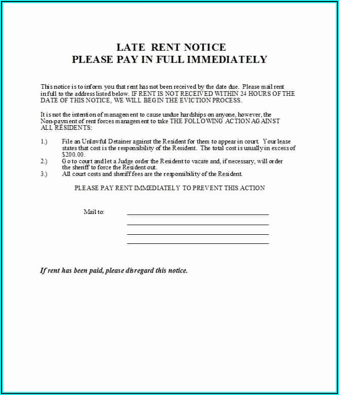 Free Printable Late Rent Notice Template