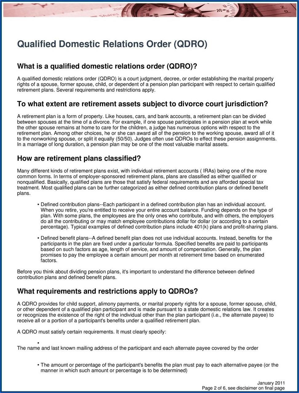 Free Qdro Form California
