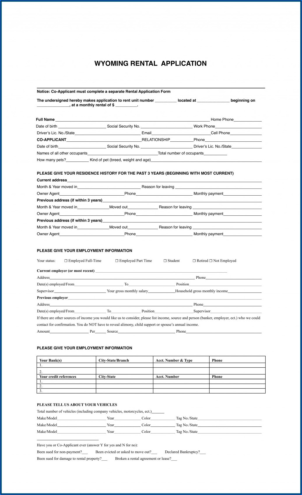 Free Rental Form Template