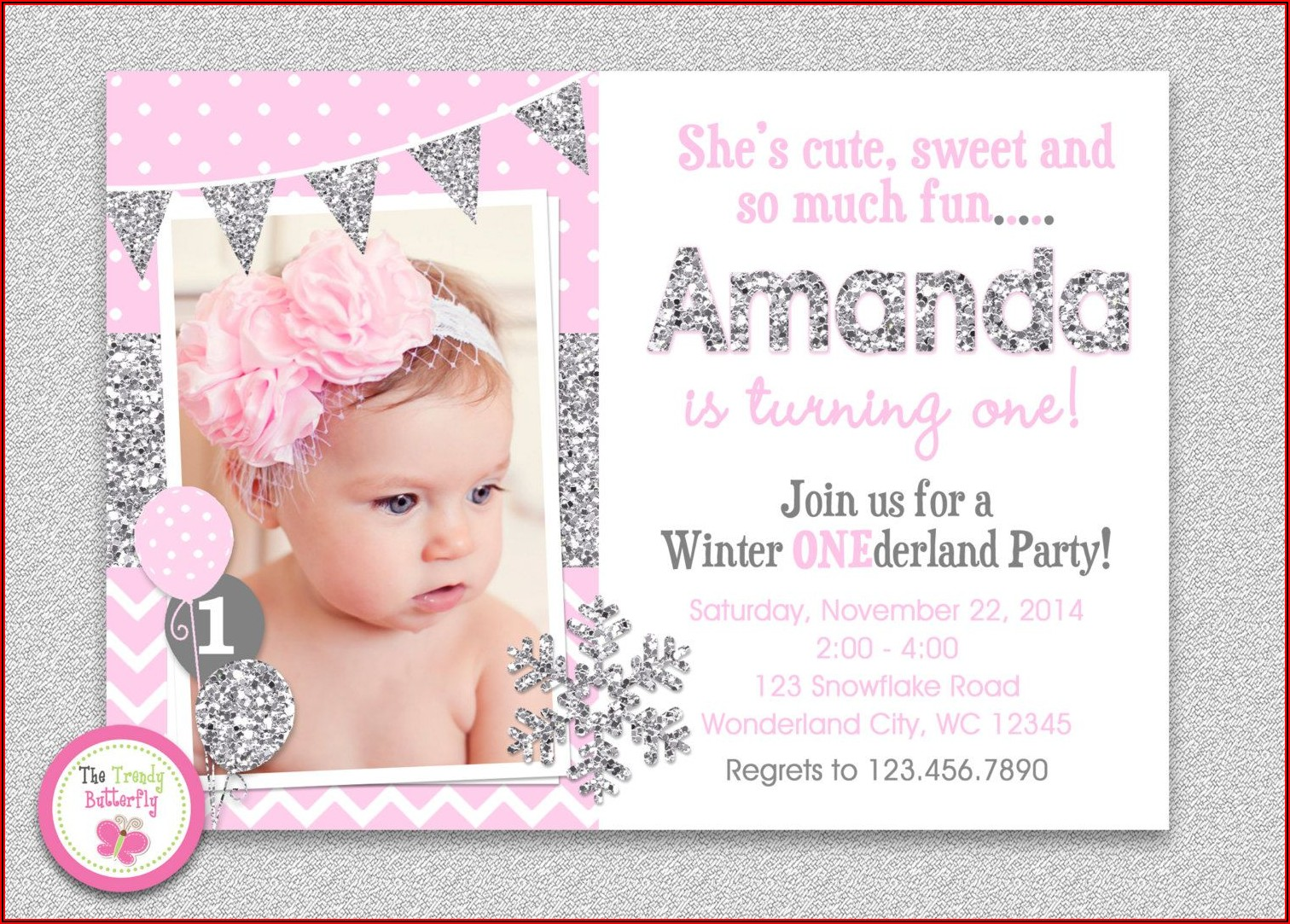 Free Winter Onederland Invitation Templates