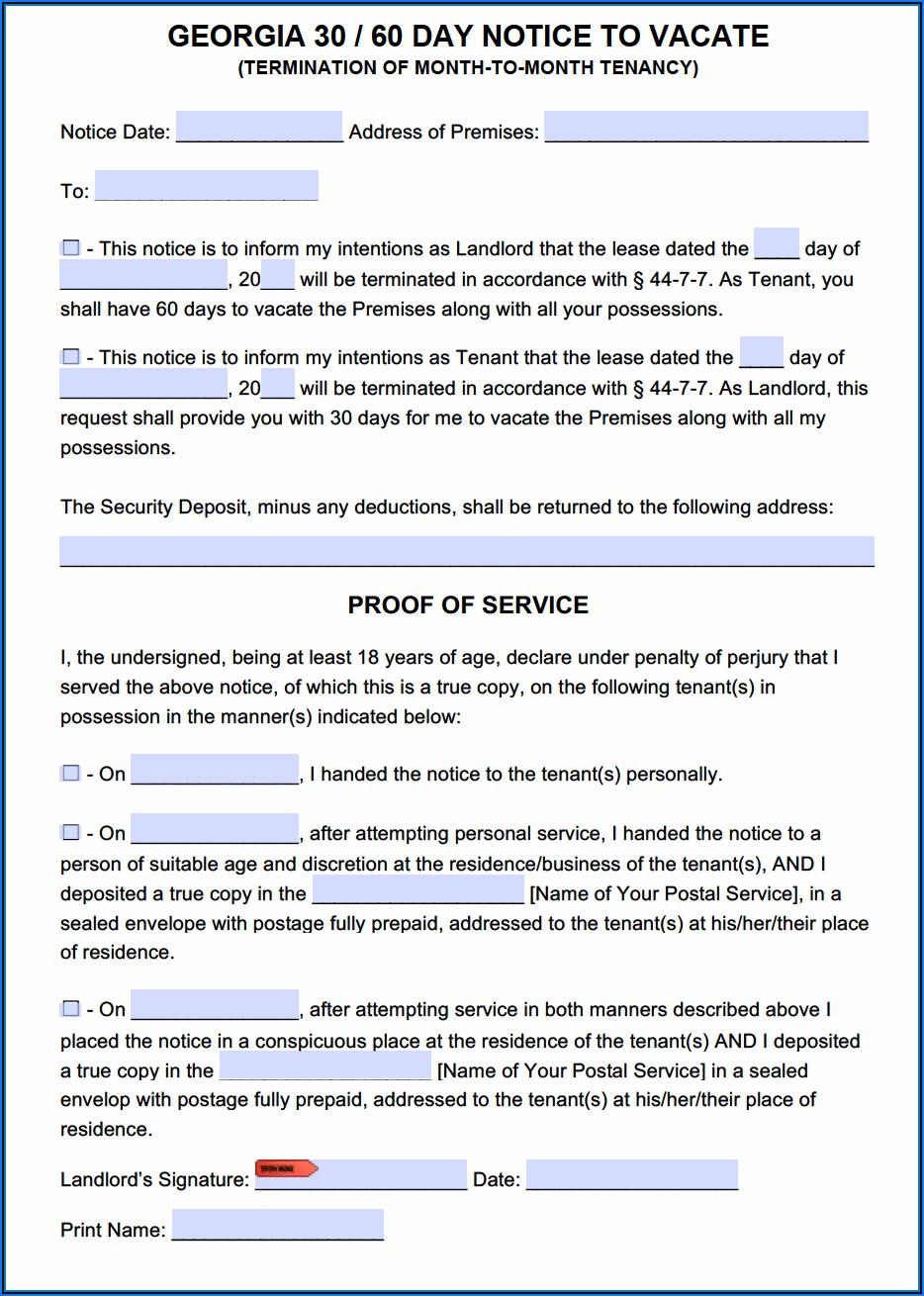 Georgia Eviction Notice Form
