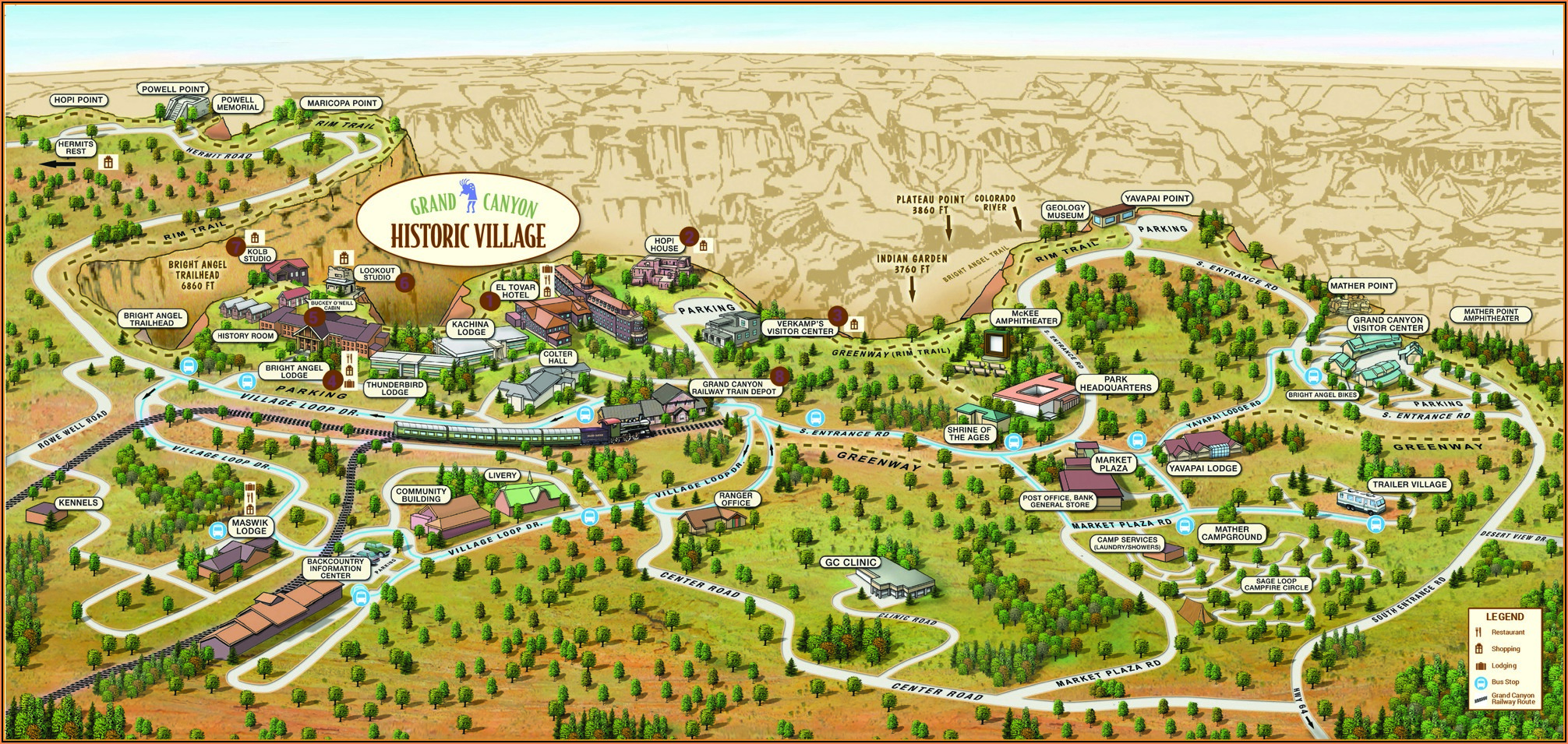 Grand Canyon Lodging South Rim Map