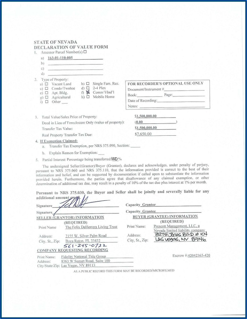 Grant Bargain Sale Deed Nevada Form