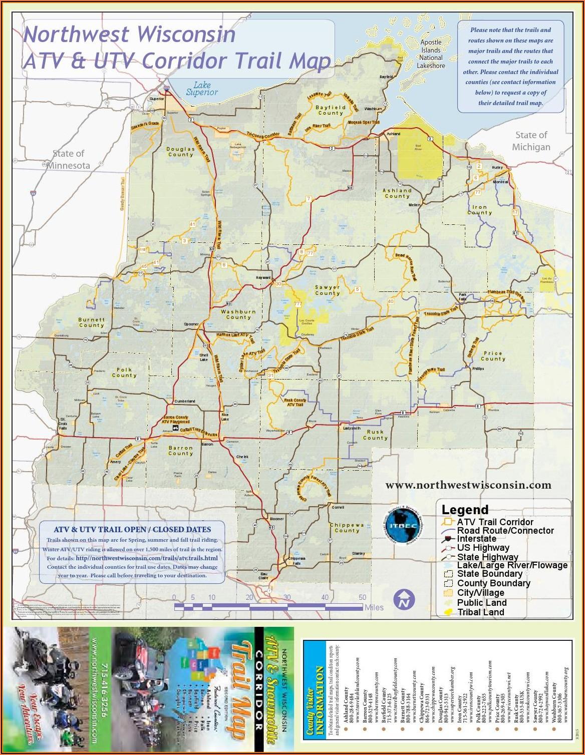 Hayward Wi Snowmobile Trail Map
