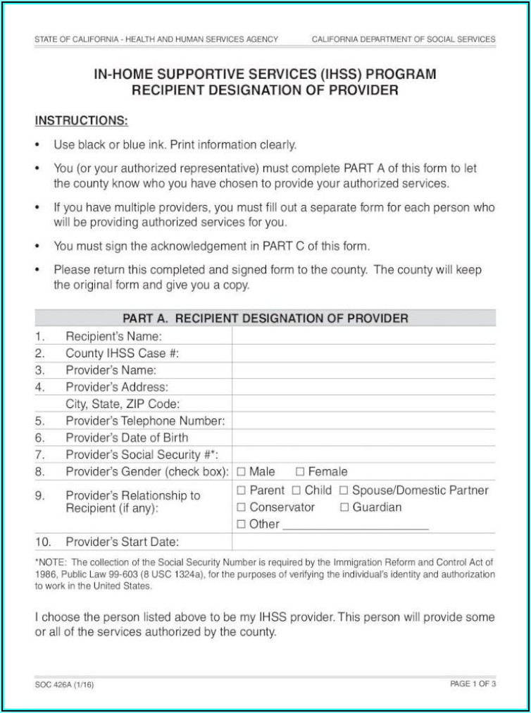 Ihss Provider Application Form Pdf