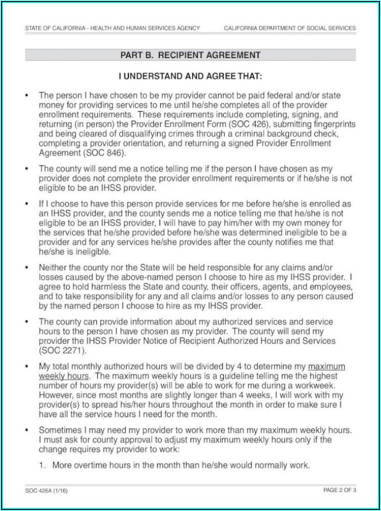 Ihss Provider Enrollment Agreement Form