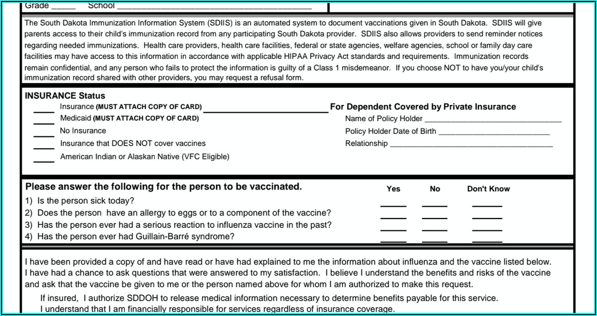 Influenza Vaccine Consent Form 2019