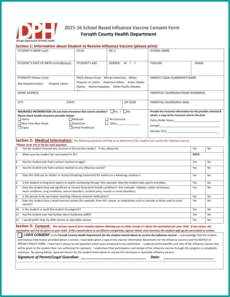 Influenza Vaccine Consent Form