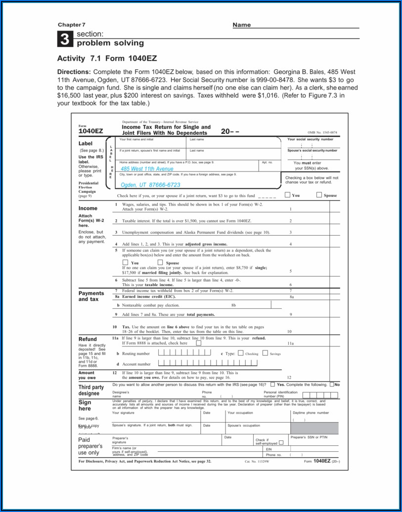 Irs Form 1040ez 2014 Printable