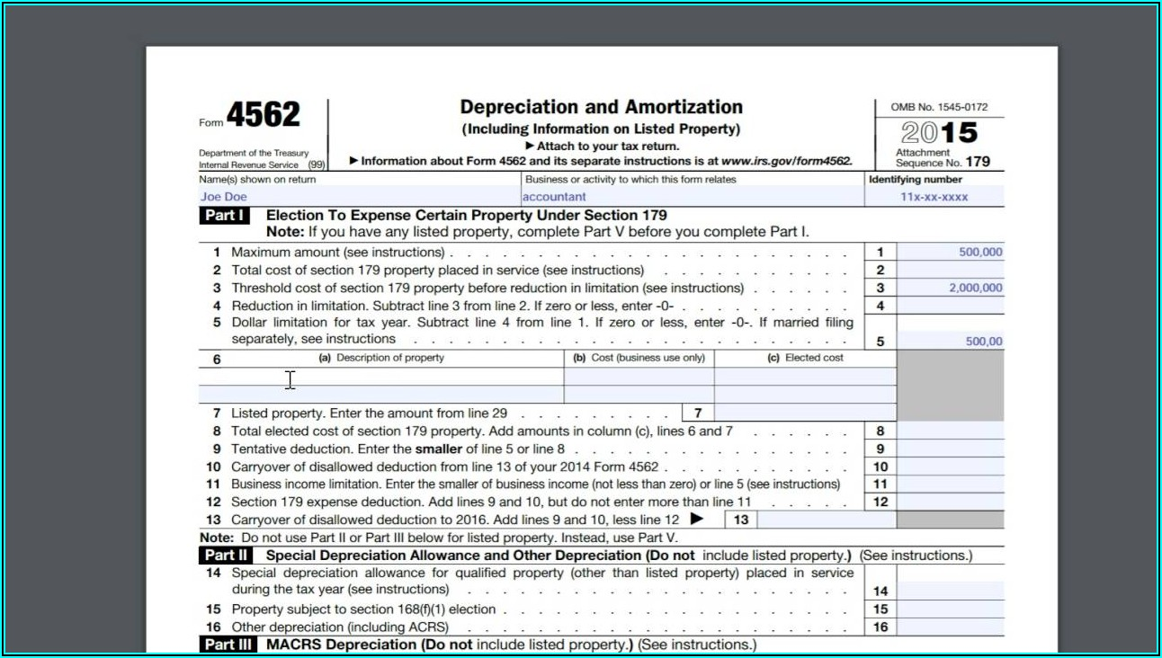 Irs Form 4562 Tax Year 2014