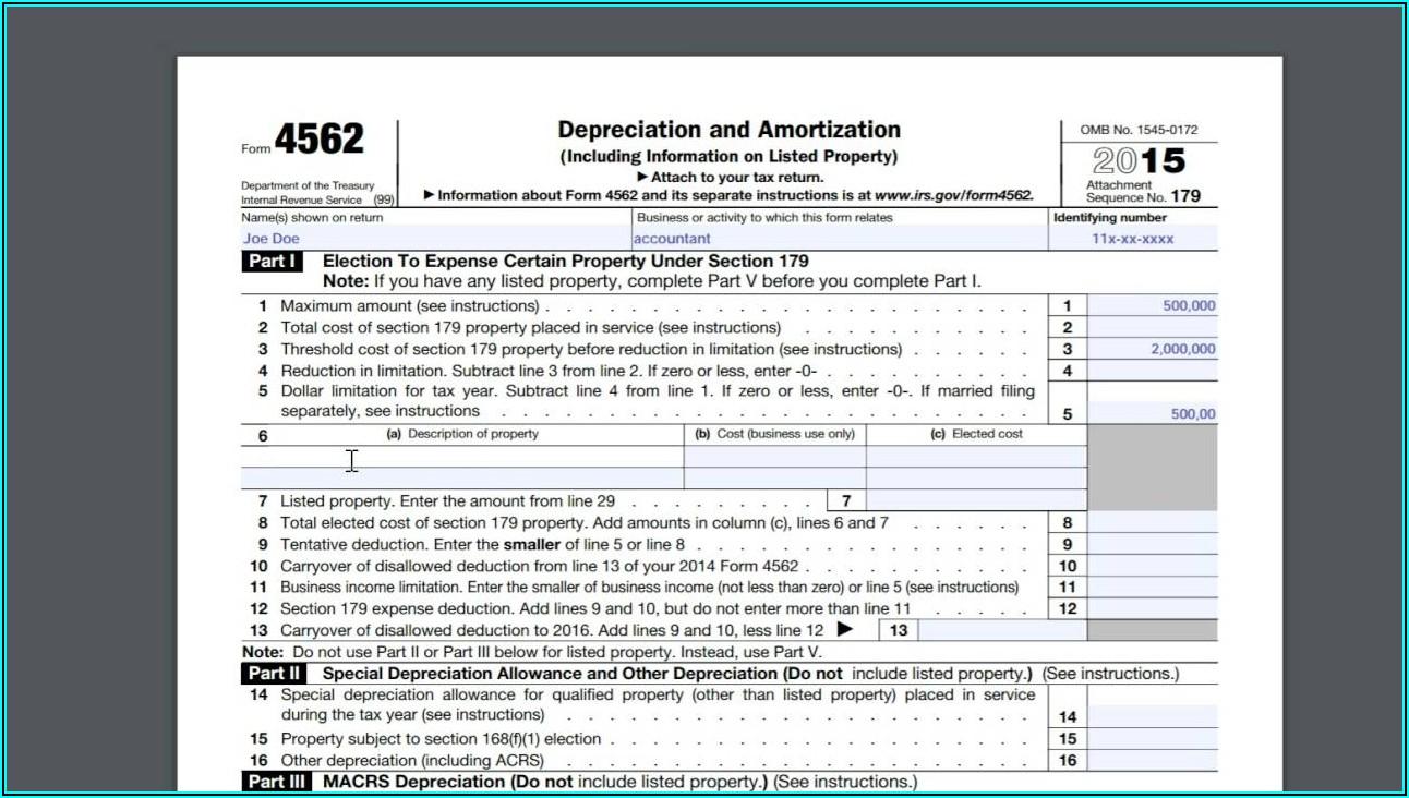 Irs Form 4562 Tax Year 2014