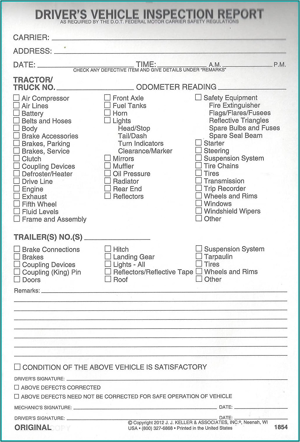 Jj Keller Trailer Inspection Form