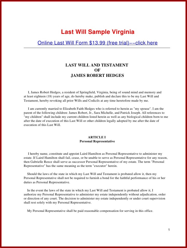 Joint Last Will And Testament Free Template