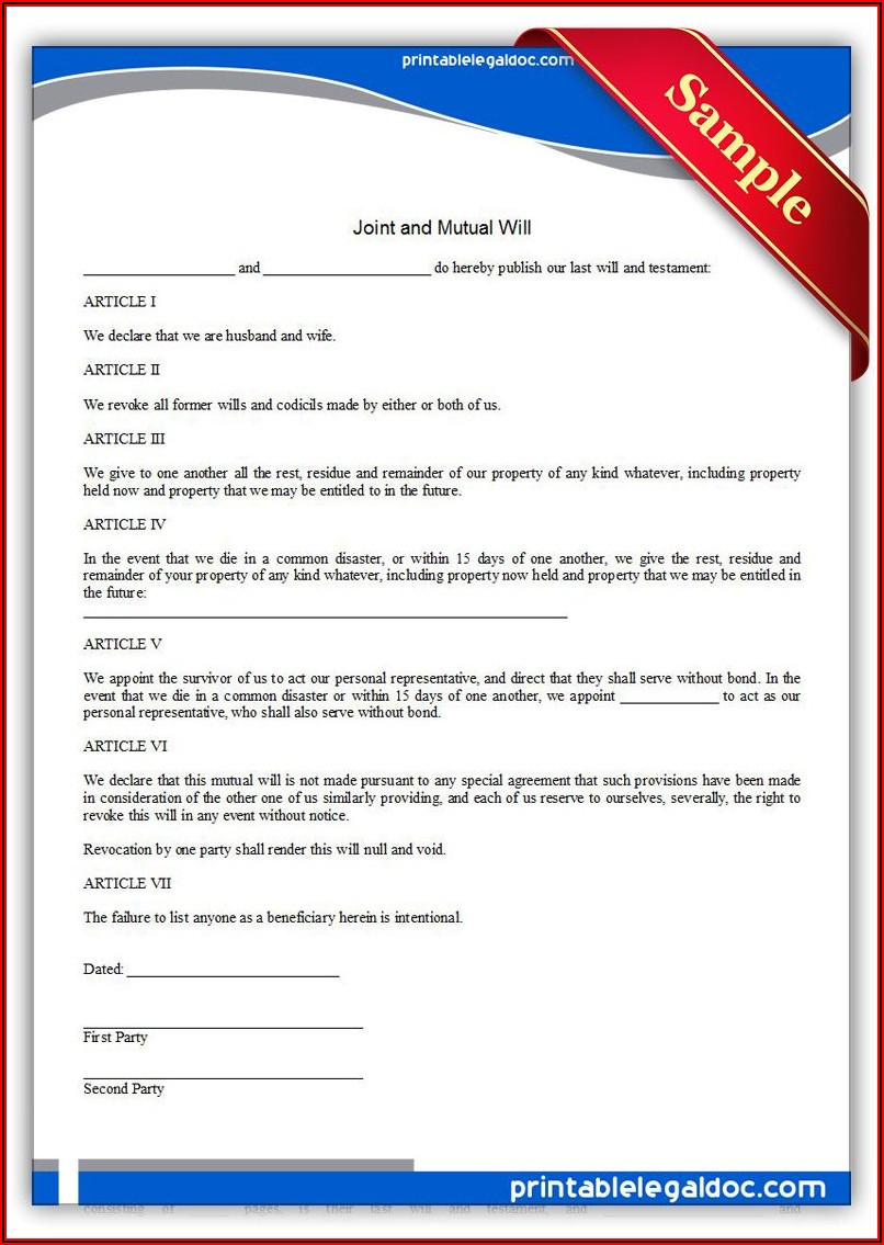 Joint Last Will And Testament Template Uk