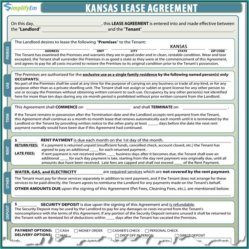 Kansas Residential Rental Lease Agreement Form