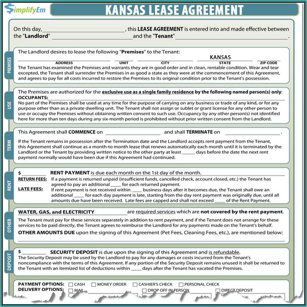 Kansas Residential Rental Lease Agreement Form