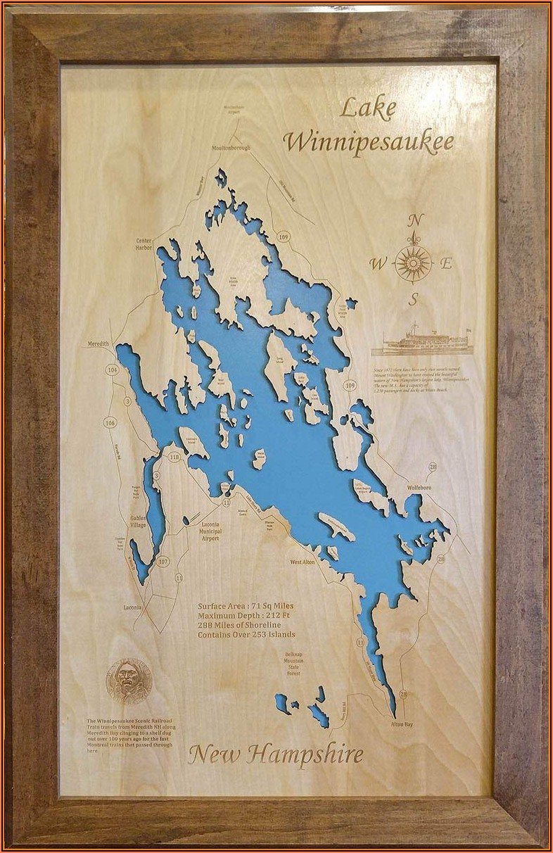 Lake Winnipesaukee Map Framed