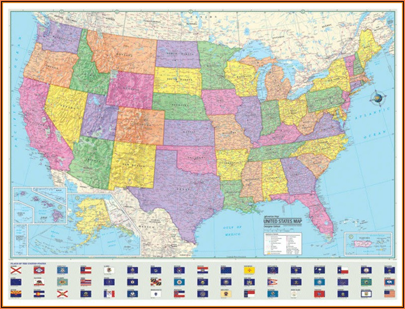 Large Laminated United States Wall Map