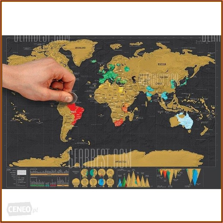 Large Map Of The World Cork Board