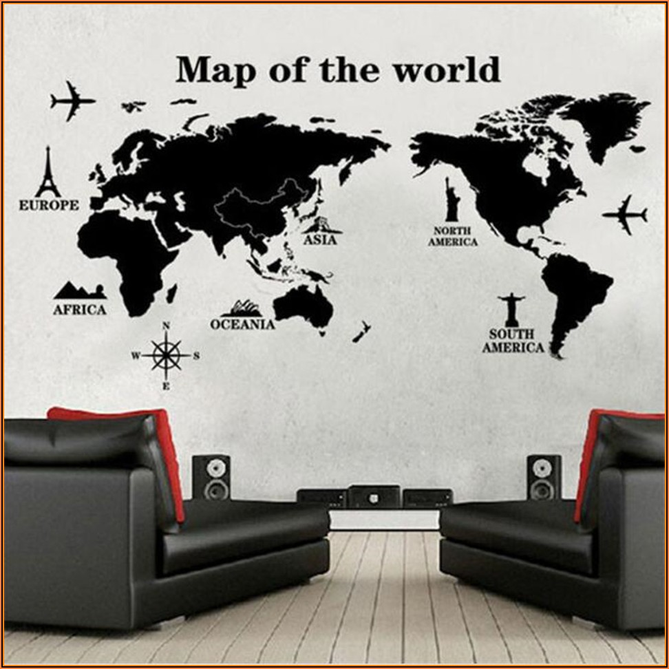Large Wall Decal World Map