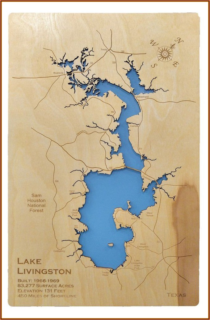 Laser Cut Wood Lake Maps