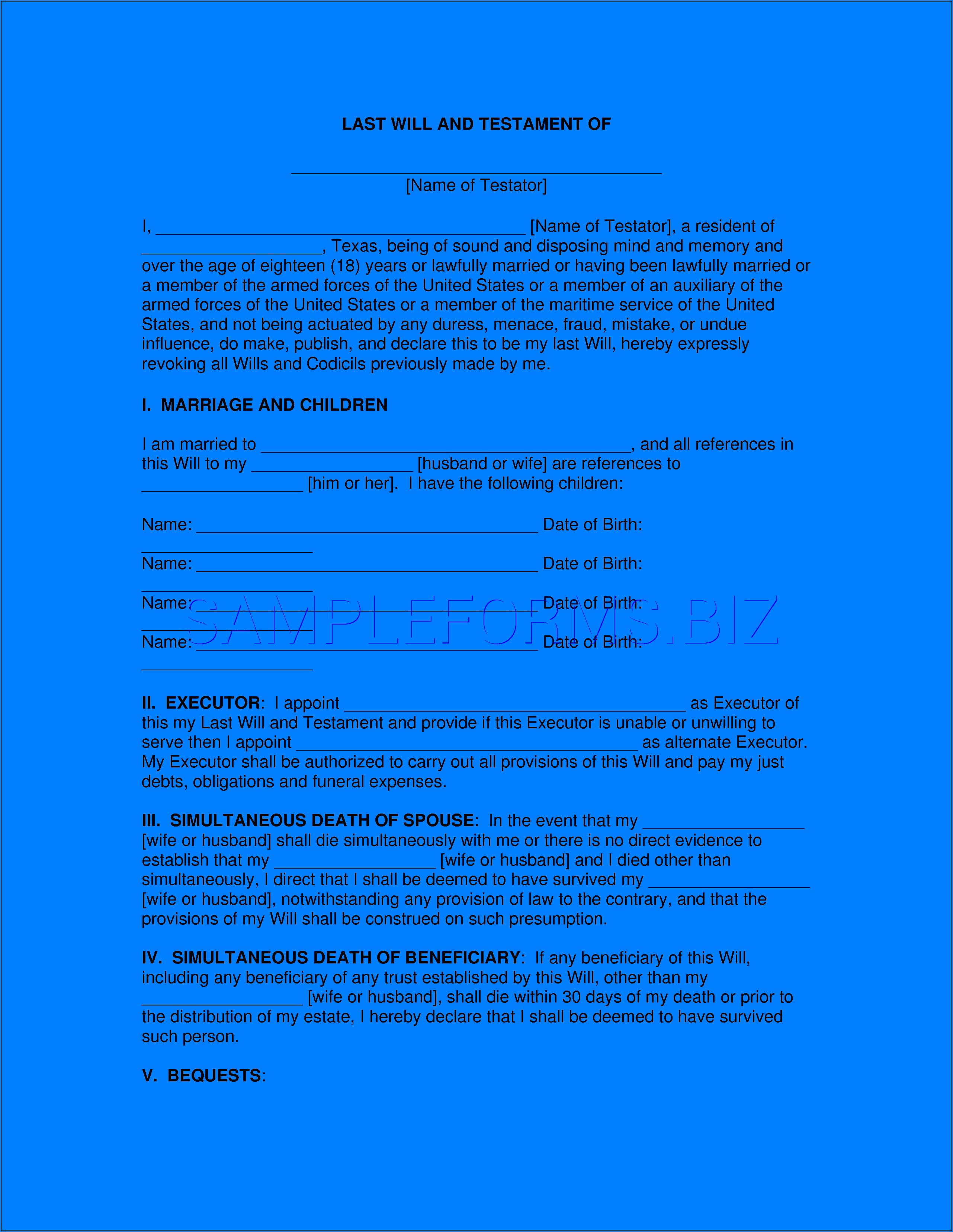 Last Will And Testament Form Texas Pdf