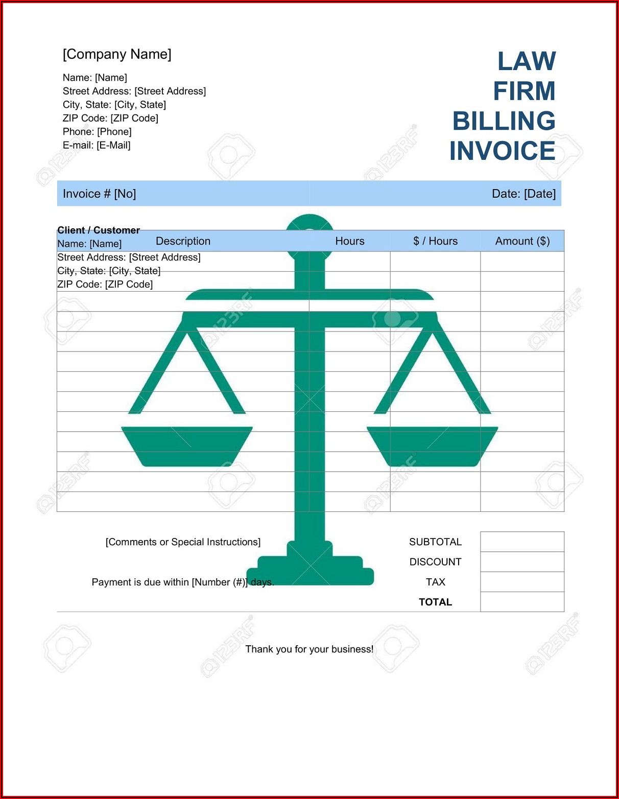 Law Firm Invoice Template Word