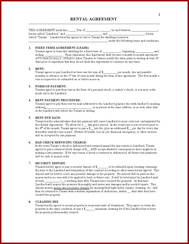 Lease Agreement Template Docx