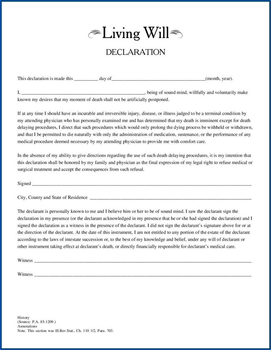 Legal Form For Living Will