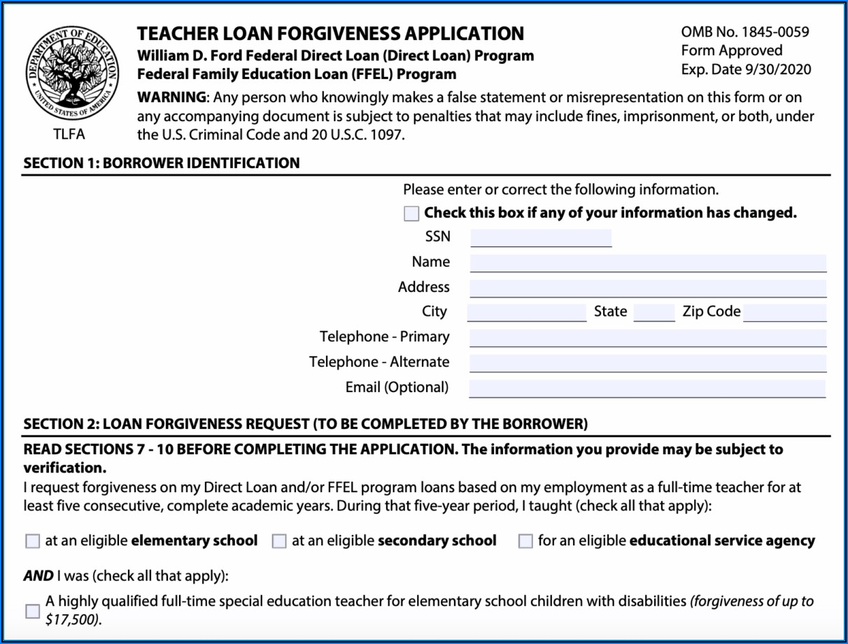 Loan Forgiveness Forms For Teachers