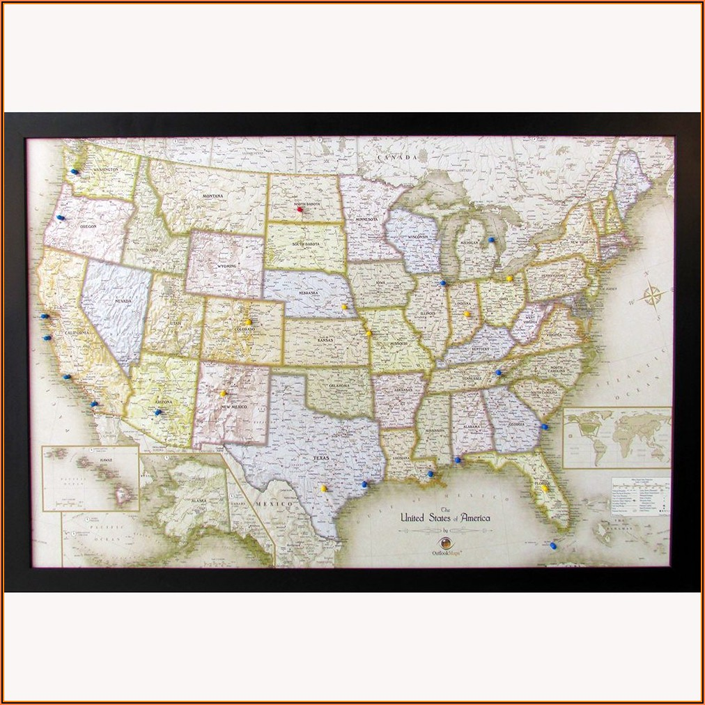 Magnetic Wall Map Of Usa