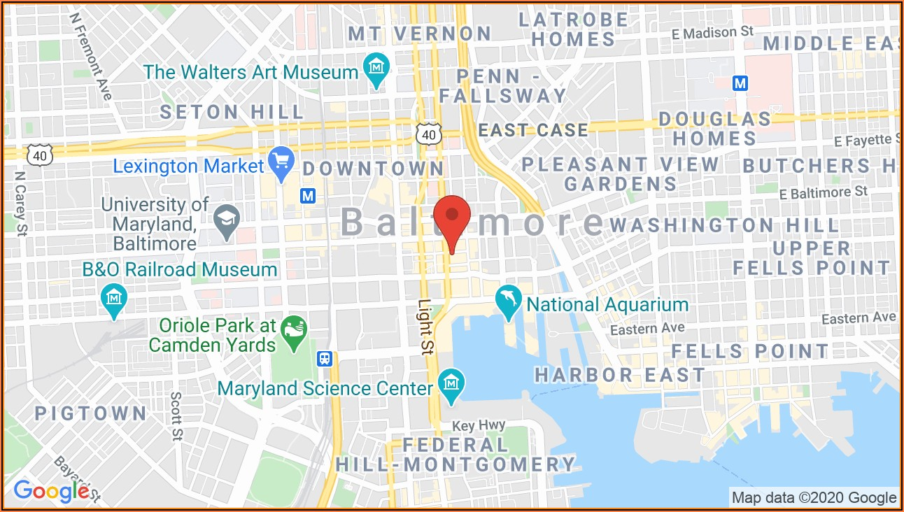 Map Of Baltimore Inner Harbor Hotels