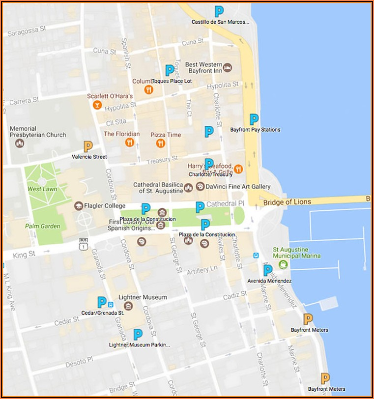 Map Of Downtown St Augustine Hotels
