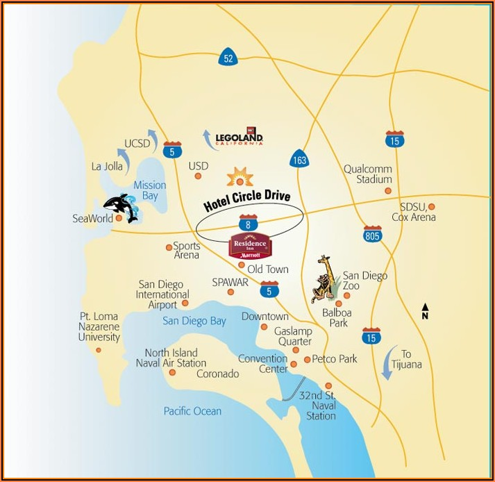 Map Of Hotel Circle San Diego California