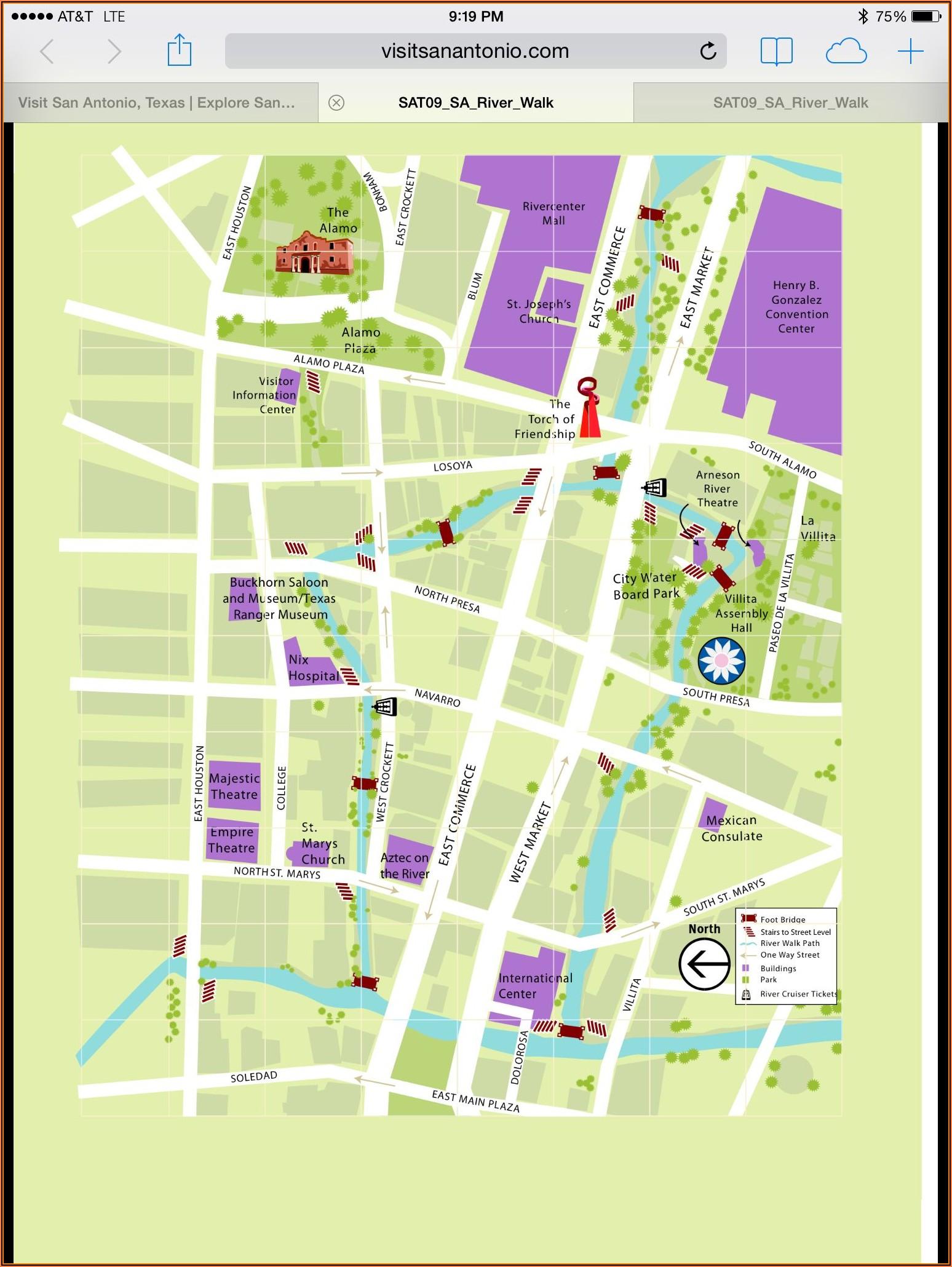Map Of Hotels And Restaurants On San Antonio Riverwalk