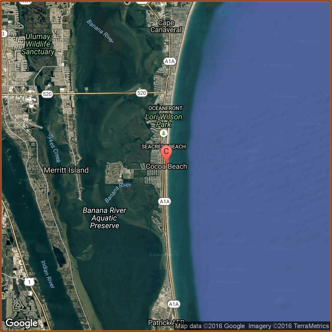 Map Of Hotels In Cocoa Beach Florida
