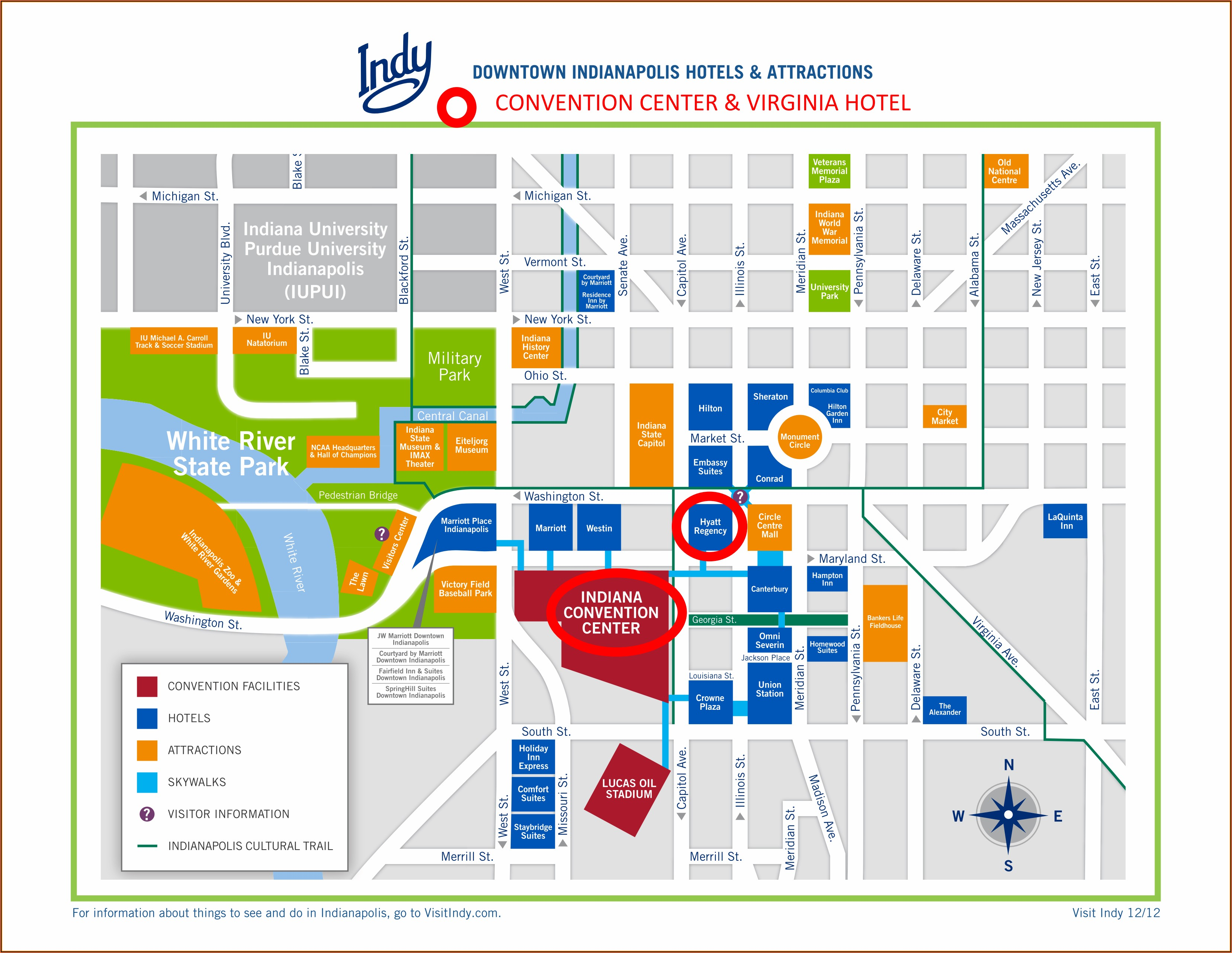 Map Of Hotels In Downtown Indianapolis