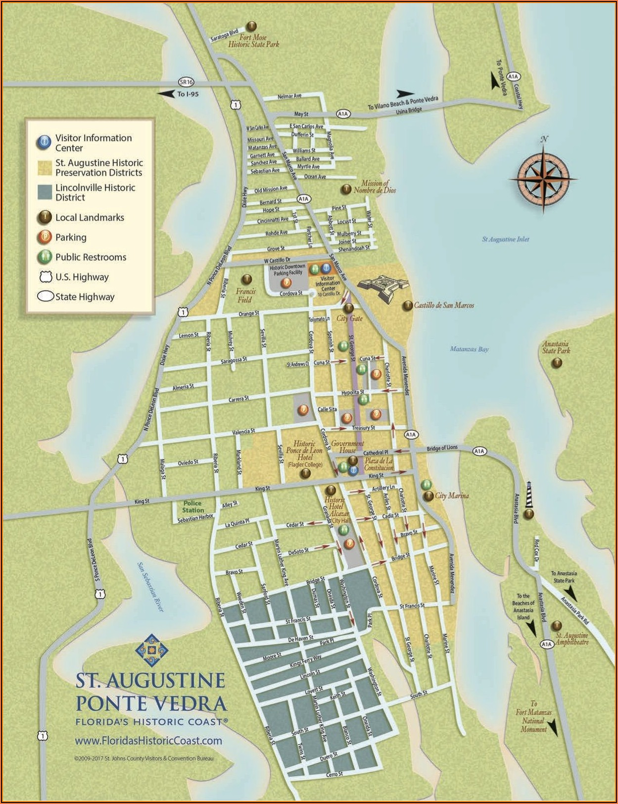 Map Of Hotels In Historic St Augustine