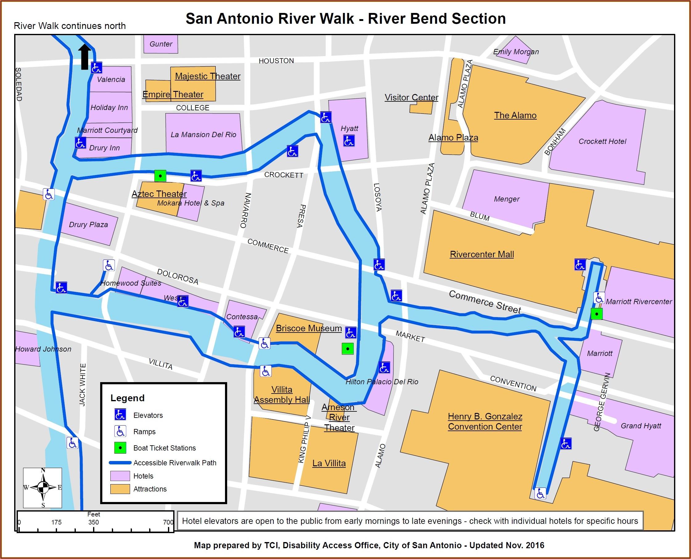 Map Of Hotels Near Riverwalk In San Antonio Texas