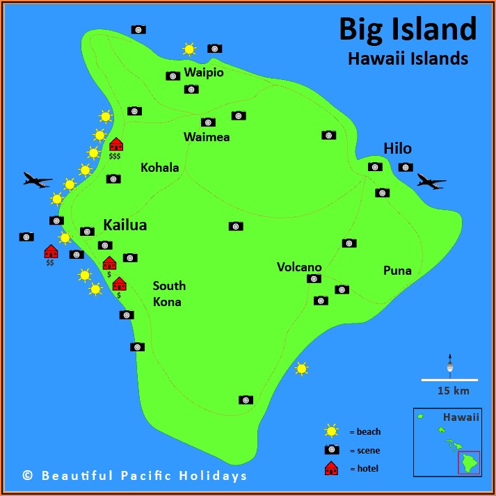 Map Of Kona Hawaii Hotels