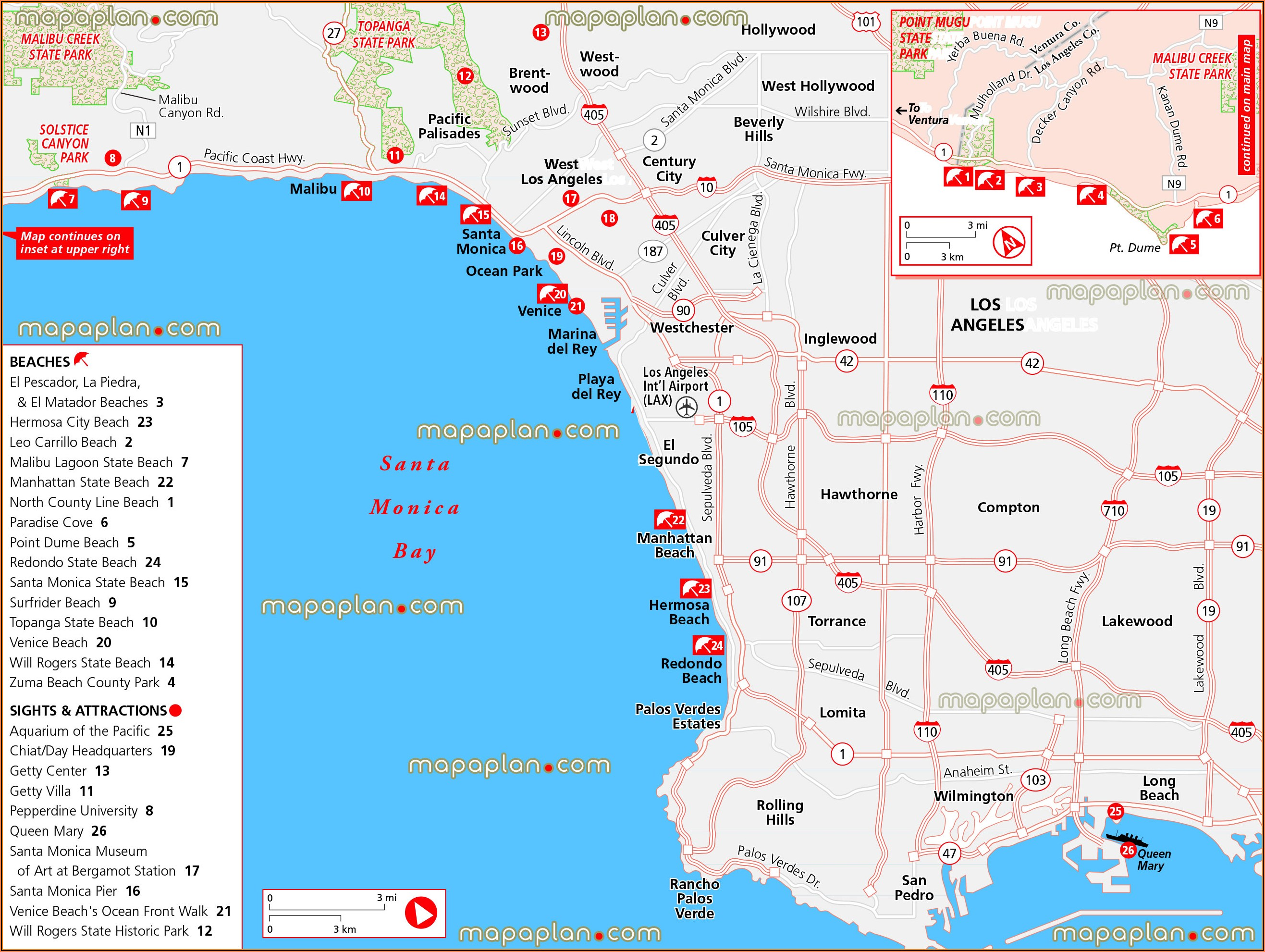 Map Of Los Angeles Beach Cities